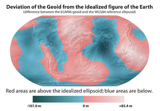 Geoid - Image: Geoid height red blue averagebw
