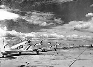 George Field, Illinois - Beechcraft AT-10 Wichita trainers on the parking ramp at George Field, 1943