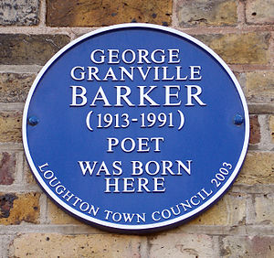 George Barker (poet) - George Granville Barker blue plaque at Forest Road, Loughton