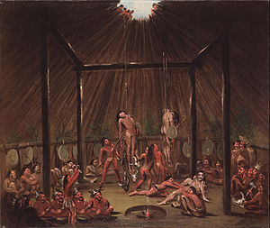 Initiation - The Okipa ceremony was a test for young Mandan men to prove themselves as warriors. The ceremony as witnessed by George Catlin, circa 1835