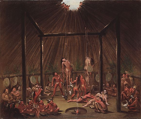 The okipa ceremony as witnessed by George Catlin, circa 1835. George Catlin - The Cutting Scene, Mandan O-kee-pa Ceremony - Google Art Project.jpg