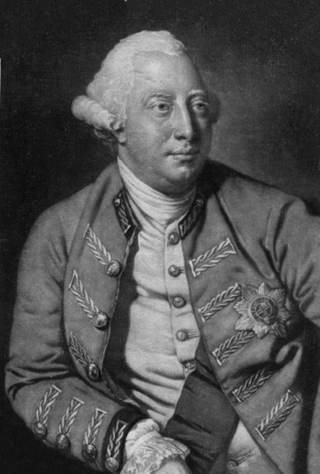Monochrome portrait of a clean-shaven man with a fleshy face and white eyebrows wearing a powdered wig.