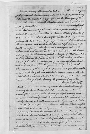 George Wythe - Will of George Wythe, 1806, leaving books to Thomas Jefferson
