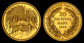 New Guinean mark - 1895 20 Mark gold coin issued by the German New Guinea Company.