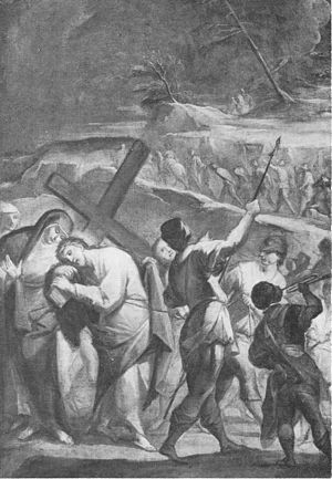 Jesus meets his mother while carrying the Cross