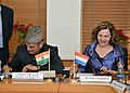 Ghulam Nabi Azad and the Minister of Health, Welfare and Sport of the Netherlands, Ms. Edith I. Schippers signing an MoU in the field of health and medicine, in New Delhi on January 30, 2014.jpg