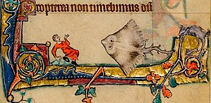 Macclesfield Psalter - A giant skate terrorises a man; one of many bizarre marginalia features throughout the Psalter.
