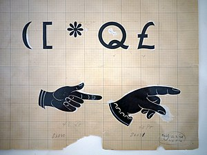 "Gill Sans - Some of Gill's original art for Gill Sans, showing the original ""Q"", punctuation and two manicules."