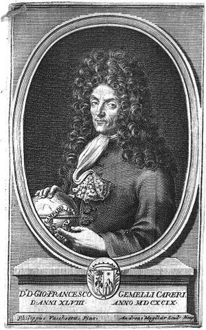 """Giovanni Francesco Gemelli Careri - Giovanni Francesco Gemelli Careri at age 48 in the year 1699.  This image is taken from his book: """"Giro Del Mondo"""""""