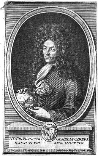 "Giovanni Francesco Gemelli Careri - Giovanni Francesco Gemelli Careri at age 48 in the year 1699.  This image is taken from his book: ""Giro Del Mondo"""