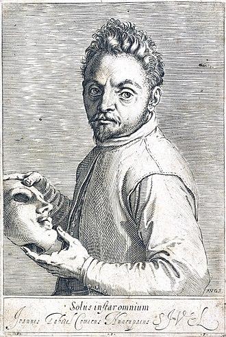"Giovanni Gabrielli (actor) - Image: Giovanni Gabrielli (""Sivello"") holding a mask. Etching by Wellcome L0048998 (crop, auto color)"