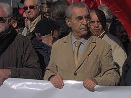 Giulietto Chiesa alla manifestazione a Roma il 20 ottobre 2007