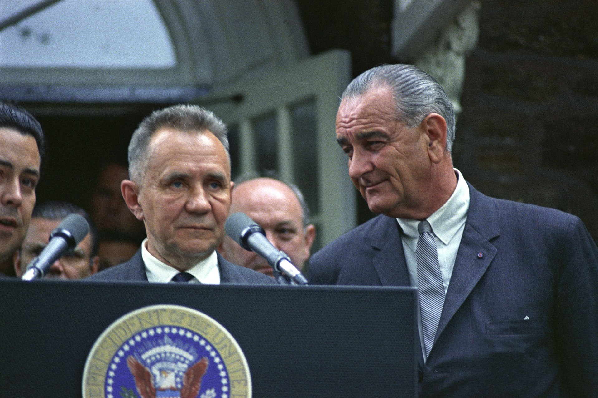 Soviet Premier Alexei Kosygin with U.S. President Lyndon B. Johnson at the Glassboro Summit Conference where the two representatives discussed the possibilities of a peace settlement