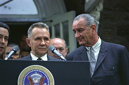 Soviet Premier Alexei Kosygin (left) next to Johnson during the Glassboro Summit Conference Glassboro-meeting1967.jpg