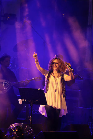 Music of Israel - Glykeria during a concert held in Rishon Le-Zion, September 2013.