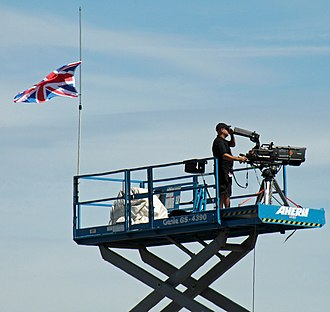 Justin Wilson (racing driver) - Flag of the United Kingdom at half mast at the 2015 GoPro Grand Prix of Sonoma in memory of Wilson