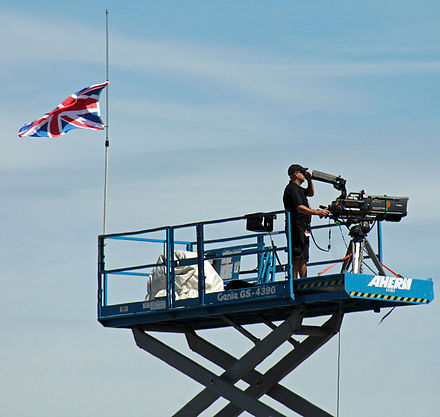 Flag of the United Kingdom at half mast at the 2015 GoPro Grand Prix of Sonoma in memory of Wilson GoPro Grand Prix 2015 2 - Stierch.jpg