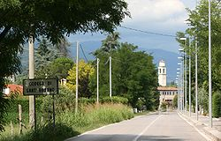 Town's entrance. In background the bell tower