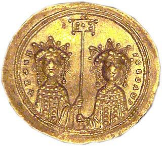 Gold histamenon of Zoe and Theodora III.  1042
