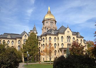 Main Building (University of Notre Dame) - The Main Administration with the Golden Dome building in the Fall