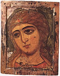 12-century Novgorod icon called Angel with Golden Locks
