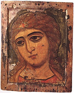 Rumyantsev Museum - The Angel of Golden Locks, a 12th-century icon from Rumyantsev's collection