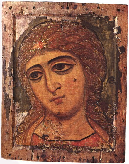 "12th-century icon of Archangel Gabriel from Novgorod, called ""Golden-Locked Angel"", currently exhibited in the State Russian Museum. Goldenlocks.jpg"