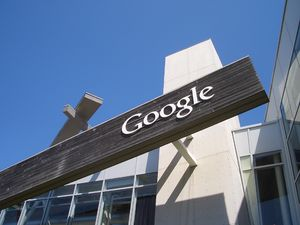 A Google sign from their campus in Mountain Vi...