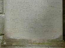 Inschrift auf dem Gedenkstein des Familiengrabes von Carl Maria von Weber (Quelle: Wikimedia)