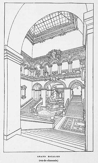 Palais de Rumine - Perspective of the grand staircase, drawn by  Gaspard André