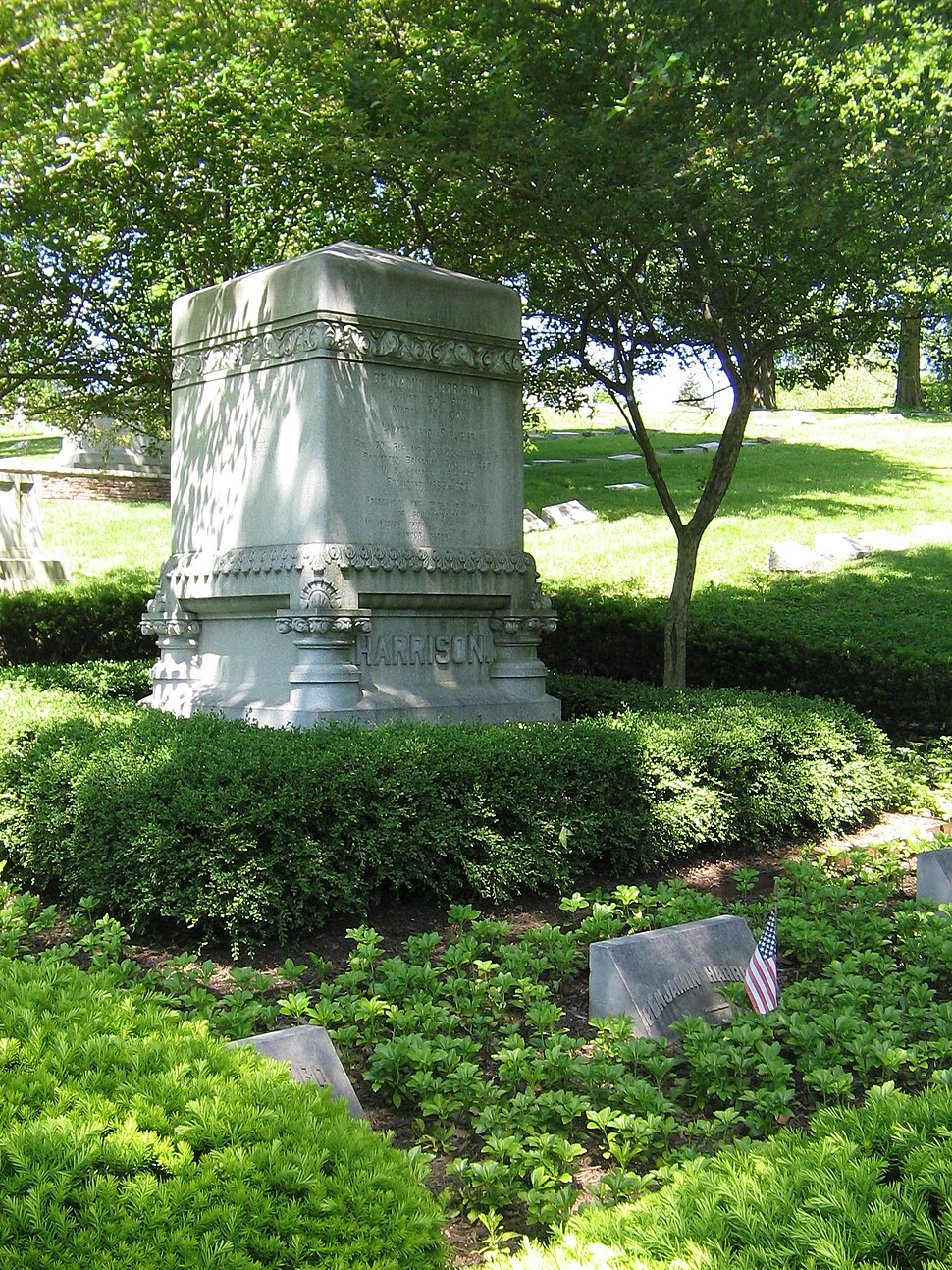Grave of President Benjamin Harrison and his two wives in Indianapolis, Indiana