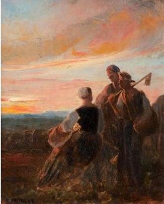 Pierre Grivolas - Peasants at Sunset