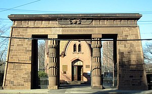 Grove Street Cemetery - The Egyptian Revival entry gateway