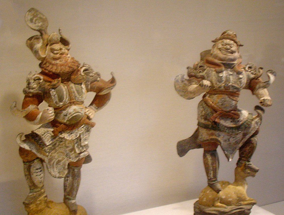 Guardian figures, earthenware with pigment, Tang Dynasty