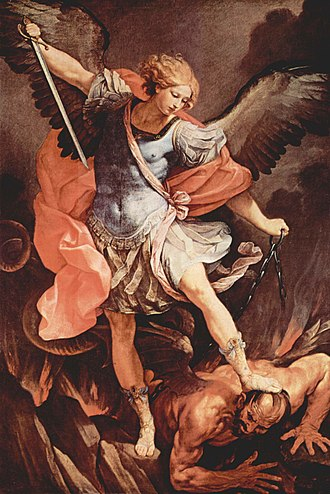Guido Reni - St Michael Archangel, 1636. The Archangel Michael trampling Satan wears a late-Roman military cloak and cuirass. Held in Santa Maria della Concezione dei Cappuccini, Rome.