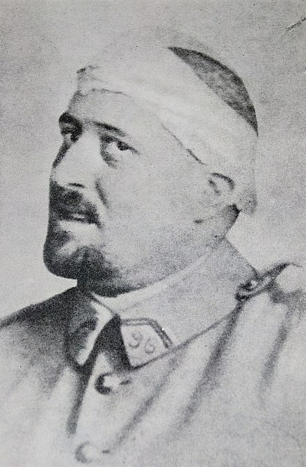Photograph of Guillaume Apollinaire in spring 1916 after his shrapnel wound to the temple. - Guillaume Apollinaire