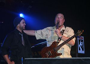 Guy Sebastian - Sebastian and Steve Cropper on stage during The Memphis Tour