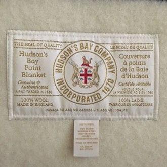 Hudson's Bay point blanket - HBC point blanket label since April 2017