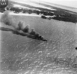Air raids on Australia, 1942–43 - HMAS Maroubra sinking after being attacked off Millingimbi on 10 May 1943