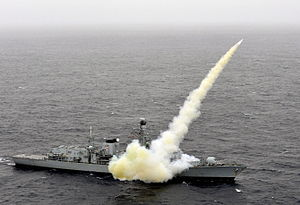 Active Royal Navy weapon systems - HMS ''Montrose'' (F236) fires a Harpoon missile