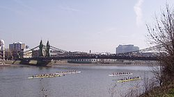 Crews racing under Hammersmith Bridge at HORR 2005
