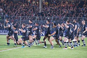 New Zealand at the 2013 Rugby League World Cup - Image: Haka Kiwis 2 01112013