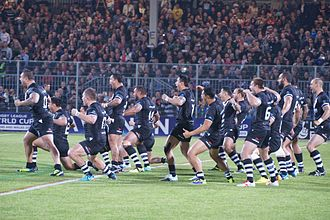 New Zealand national rugby league team - New Zealand performing their new 'Te Iwi Kiwi' Haka at the 2013 World Cup