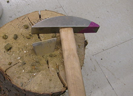 These are the hammer and hardie, mosaic tools used for cutting stone by Italian mosaic artists Hammer and hardie.jpg