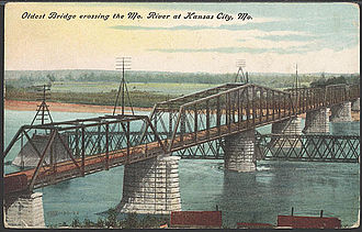 Hannibal and St. Joseph Railroad - Hannibal Bridge over Missouri River at Kansas City.