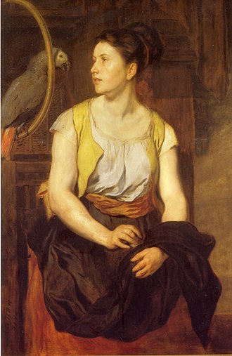 Hans Canon - Young Woman with Parrot (1876)