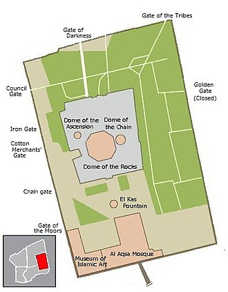 Gates of the Temple Mount - Map of the Temple Mount : some gates are described in the map