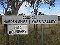 Harden Shire Yass Valley Council sign Bobborra Road between Binalong and Galong.JPG