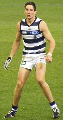 Harry Taylor playing in an AFL match for Geelong in 2008.