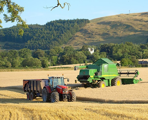 Grain harvest, Bridge of Earn, Perthshire, Scotland